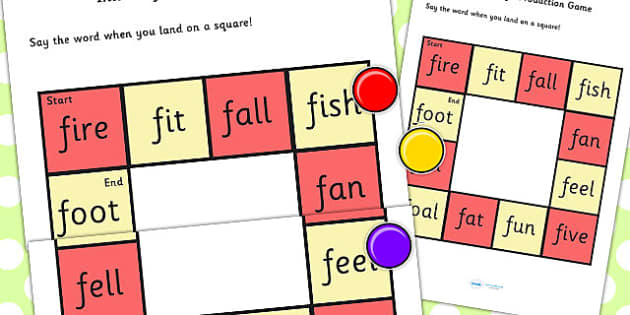 Initial 'f' Production Game - f, vowel, sounds, game, sound game