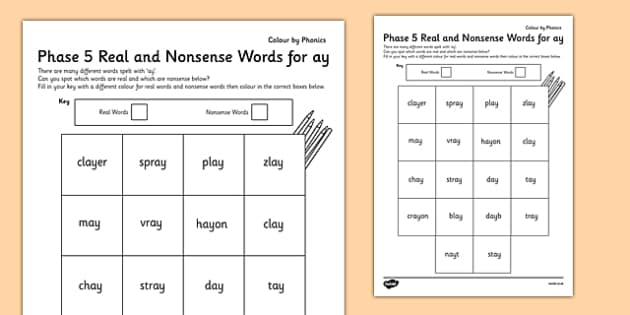 Phase 5 'ay' Colour by Phoneme Real and Nonsense Words - phase 5