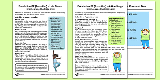 Dance Till You Drop Home Learning Challenge Sheets Pack - EYFS, PE, Physical Development, Planning