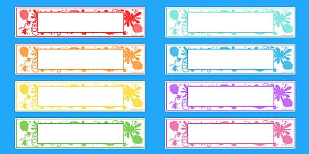 Splat Themed Editable Gratnells Tray Labels - tray labels, splat