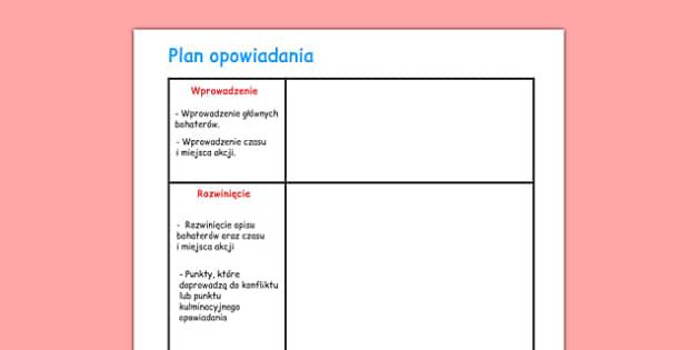 Arkusz Plan opowiadania po polsku - język polski