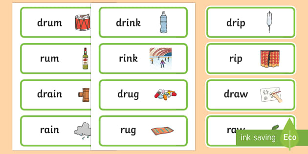 'dr' and 'r' Near Minimal Pair Word Cards - phonology, articulation, cluster reduction, minimal pairs
