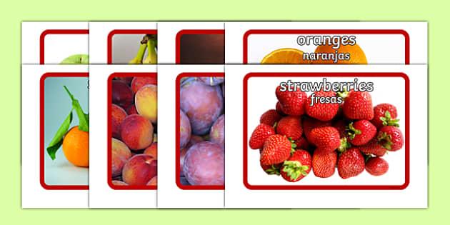 Fruit Flashcards Spanish Translation--translation