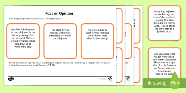 Rainforest Fact or Opinion Cards - CfE, Social Studies, place, environment, fact, opinion