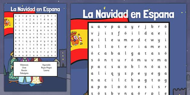 La Navidad en Espana Word Search - spanish, la navidad, espana, christmas, word search