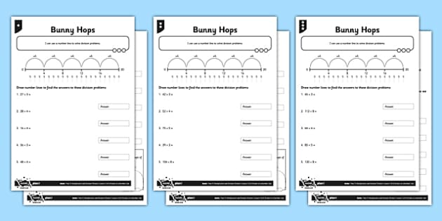 Year 3 Differentiated Division on a Number Line Activity Sheet