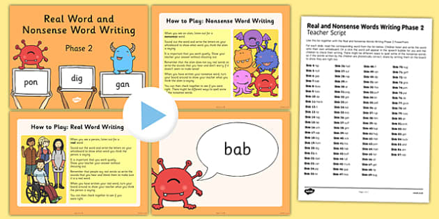 Real and Nonsense Words Writing Phase 2 PowerPoint and Script