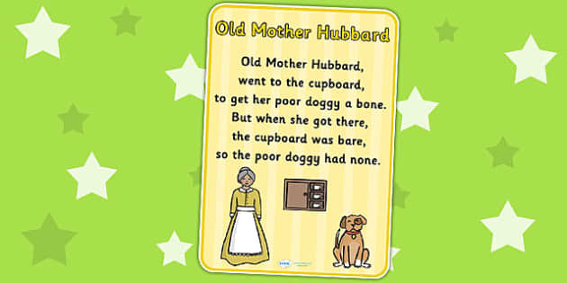 Old Mother Hubbard Nursery Rhyme Poster - rhymes, poems, display
