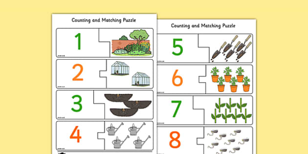 Garden-Themed Counting Matching Puzzle - count, match, counting, numbers, maths, numeracy, garden, plants, growing, centre, activity, pairs