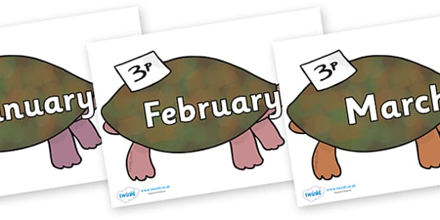 Months of the Year on Turtle to Support Teaching on The Great Pet Sale - Months of the Year, Months poster, Months display, display, poster, frieze, Months, month, January, February, March, April, May, June, July, August, September