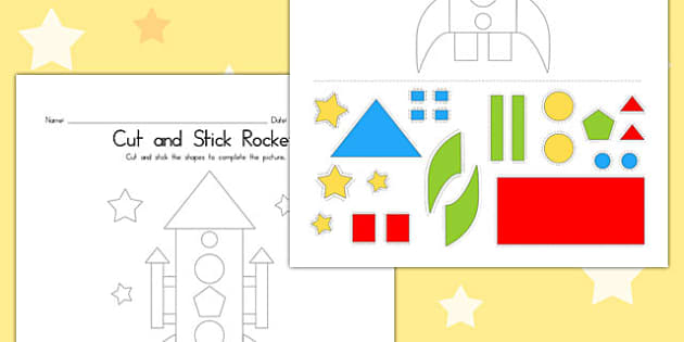Cut and Stick Rocket - Rockets, Activity, Activities, Motor