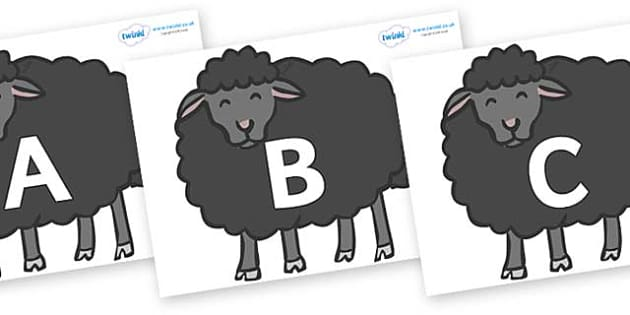 A-Z Alphabet on Baa Baa Black Sheep - A-Z, A4, display, Alphabet frieze, Display letters, Letter posters, A-Z letters, Alphabet flashcards