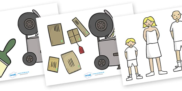 Story Cut Outs to Support Teaching on Katie Morag Delivers the Mail - Katie Morag, cut out, cut outs, cutting, story resources, Mairi Hedderwick, story, fine motor skills, scotland, scottish, book, resources, story book