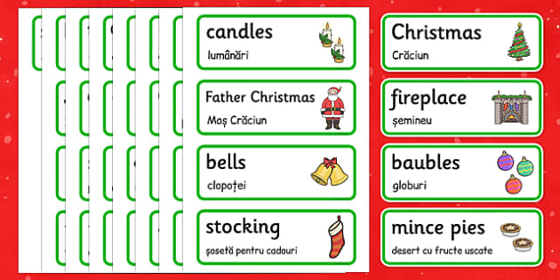 Christmas Topic Word Cards Romanian Translation - romanian, christmas, word cards, word, cards