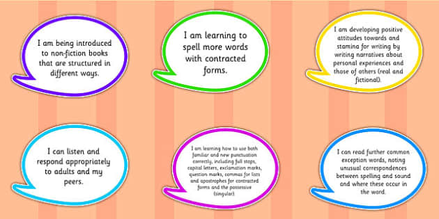 2014 Curriculum Year 2 English Assessment I Can Speech Bubbles