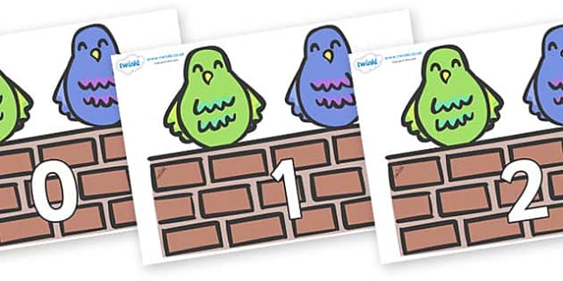Numbers 0-50 on Two Little Dickie Birds - 0-50, foundation stage numeracy, Number recognition, Number flashcards, counting, number frieze, Display numbers, number posters