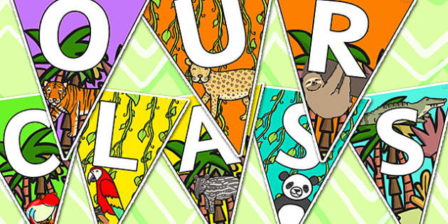 Welcome to Our Class Bunting Jungle Themed - welcome, bunting