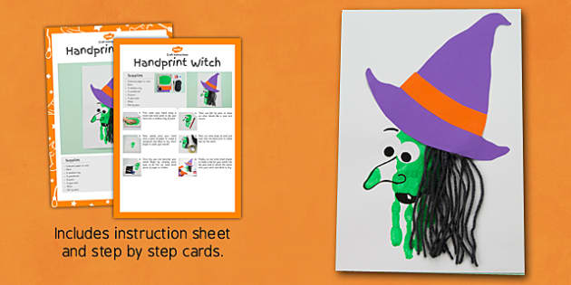 Handprint Witch Craft Instructions - notes, plan, spooky, halloween, craft, design, art, make, autumn, topic, early years, ks1, key stage 1,