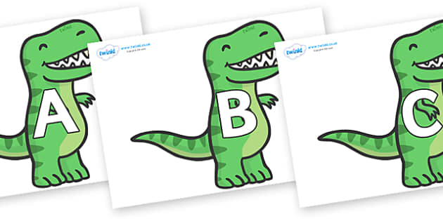 A-Z Alphabet on T Rex Dinosaurs - A-Z, A4, display, Alphabet frieze, Display letters, Letter posters, A-Z letters, Alphabet flashcards