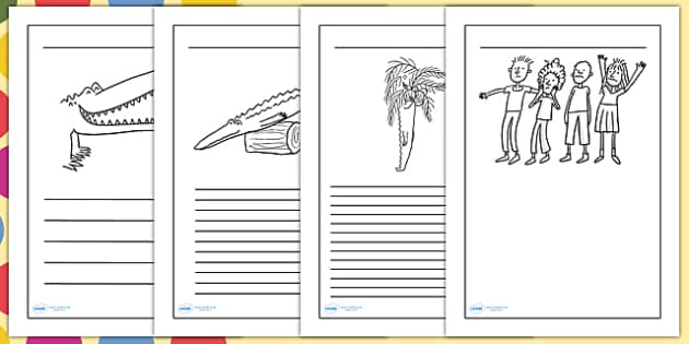 Writing Frames Standard Lined to Support Teaching on The Enormous Crocodile - the enormous crocodile, the enormous crocodile writing frames, writing frames
