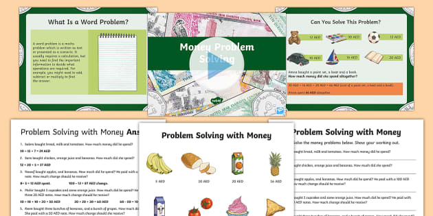 UAE Money Problem Solving PowerPoint Pack - money, UAE, pay, change, problem solving, dirhams, fils, PowerPoint pack