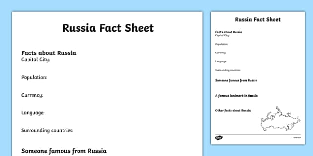 Russia Factsheet Writing Template -  russia, russia fact sheet, russia fact file, russia worksheet, facts about russia, russian culture, ks2 geography