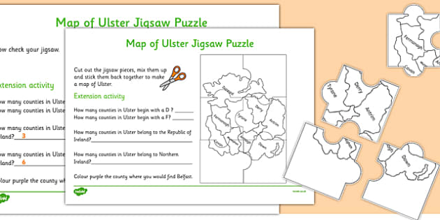 Map of Ulster Jigsaw Puzzle - map, ulster, jigsaw, puzzle, activity, game
