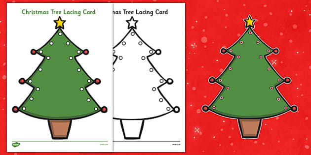 Christmas Tree Lacing Cards - christmas tree, lacing, cards, lacing cards, christmas, tree