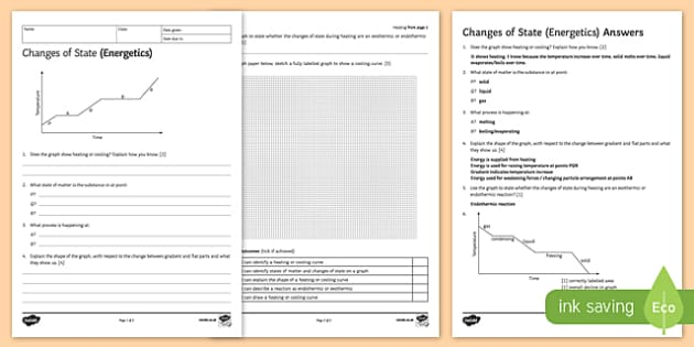 KS3 Changes of State (Energetics) Homework Activity Sheet, worksheet