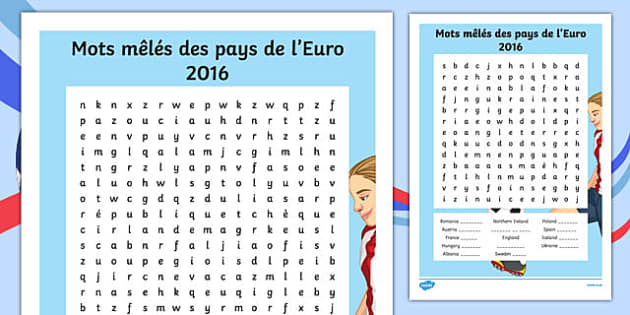 Euro 2016 Countries French Word Search-French