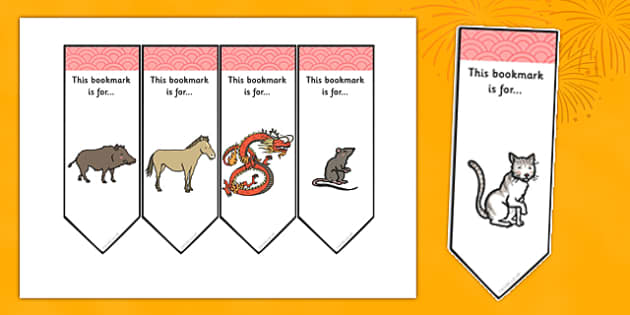 Chinese New Year Bookmarks (Text) - Chinese New Year, Bookmark, bookmark template, present, book, reward, achievement, China, lantern, dragon, chopsticks, noodles, year of the rabbit, ox, snake, fortune cookie, pig