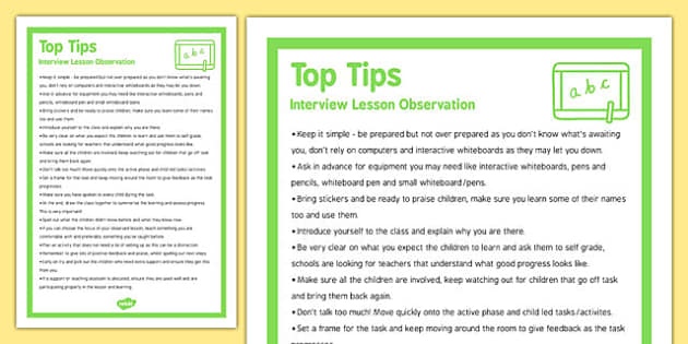lesson observation top tips interview top tips interview lesson observation top tips interview top tips