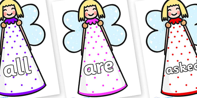Tricky Words on Christmas Angels - Tricky words, DfES Letters and Sounds, Letters and sounds, display, words