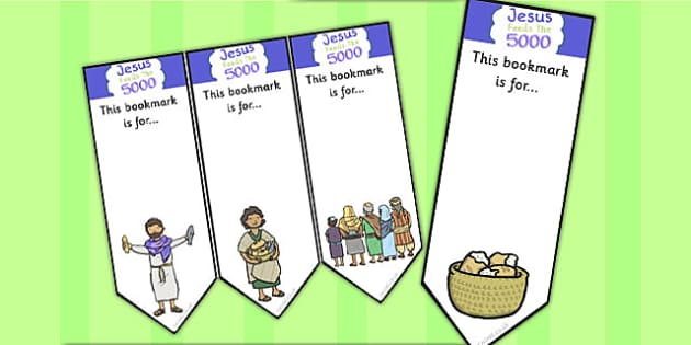 Jesus Feeds the 5000 Bible Story Editable Bookmarks - activity