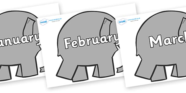 Months of the Year on Grey Elephant to Support Teaching on Elmer - Months of the Year, Months poster, Months display, display, poster, frieze, Months, month, January, February, March, April, May, June, July, August, September