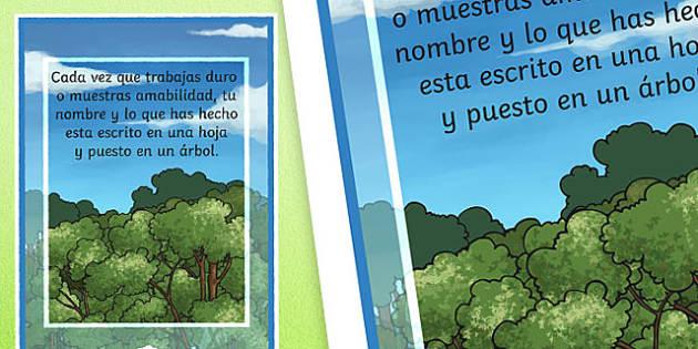 Achievement Tree Motivational Poster-Spanish