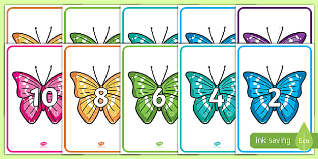Skip Counting in 2s Butterflies Display Posters