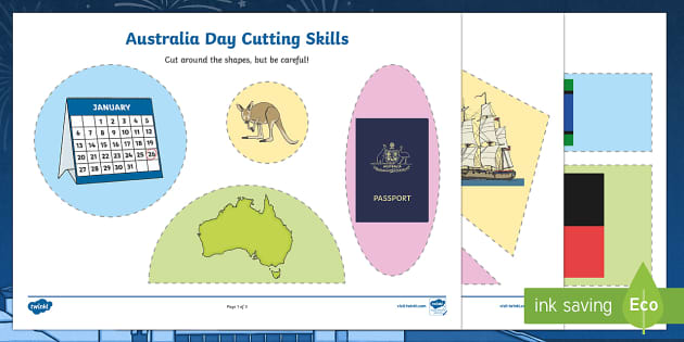 Australia Day Cutting Skills Activity Sheet - australia, cutting skill