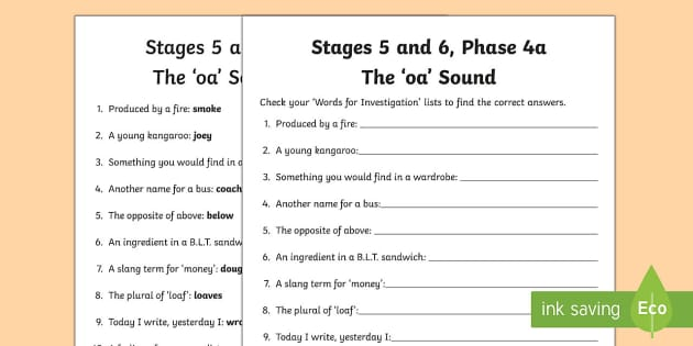 Northern Ireland Linguistic Phonics Stage 5 and 6 Phase 4a, 'oa' Sound Word Work Activity Sheet - Linguistic Phonics, Stage 5, Stage 6, Phase 4a, Northern Ireland, 'oa' sound, word work, anagram