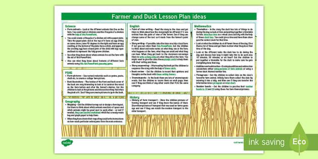 Farmer And Duck Lesson Plan Ideas KS1 - farmer duck, KS1, lesson plan