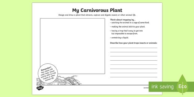 Design A Carnivorous Plant Activity Sheet - science art, carnivorous plants, plants, plant design, meat eaters, carnivores, carnivore plants, Ve