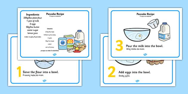 Pancake Recipe Sheets With Measurements Polish Translation - Polish, pancakes, pancake day