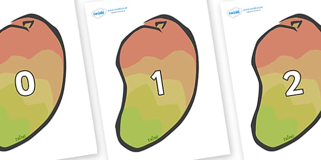 Numbers 0-100 on Mangoes - 0-100, foundation stage numeracy, Number recognition, Number flashcards, counting, number frieze, Display numbers, number posters