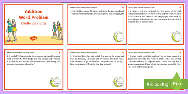 Year 3-4 Addition Word Problems Maths Challenge Cards - Australian Requests, netball, anz championship, year 3, year 4, stage 2, mathematics, maths, numbers