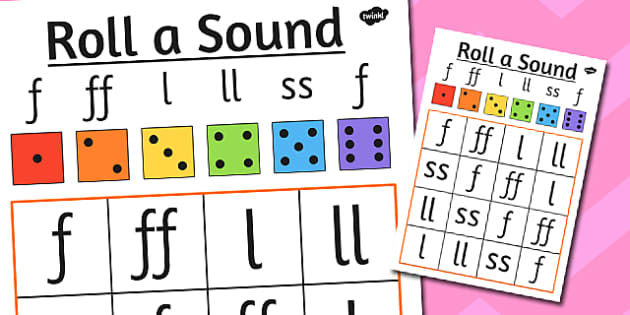 Roll a Sound Activity Mat Phase 2 f ff l ll ss - roll, phase 2
