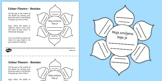MFL Bosnian Colour Flowers Activity Sheet, worksheet