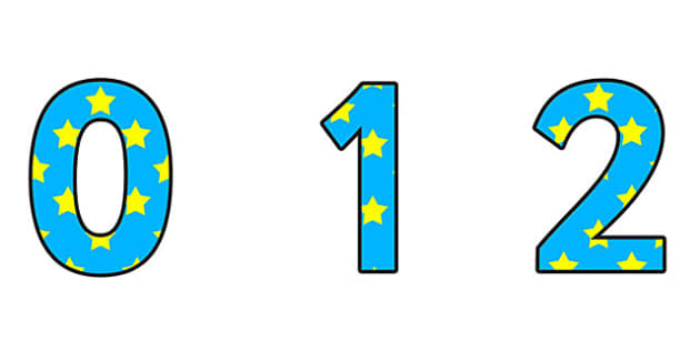 Blue And Yellow Stars A4 Display Numbers - blue, yellow, stars, display, numbers, display numbers, numbers for display, coloured numbers, cut out numbers