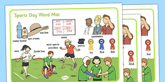 Sports Day Word Mat - sports day, word mat, word, mat, sports