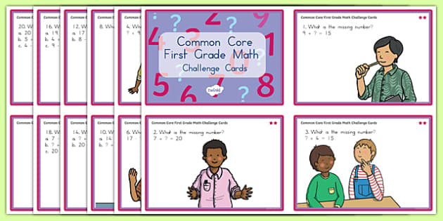 Common Core First Grade Math OA 8 Cards Challenge Cards