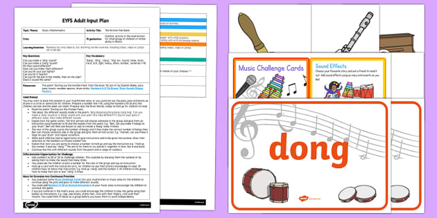 EYFS The Kitchen Pan Band Adult Input Plan and Resource Pack - Music, counting, mathematics, maths, counting actions, drum, following instructions